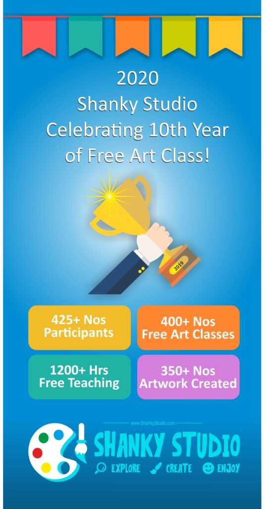Shanky Studio's 10 years of free class on visual art sketching drawing painting celebration