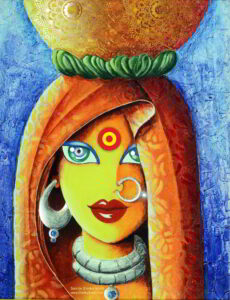 Acrylic Color Painting Village Girl Surinder Shanker Anand Shanky Studio