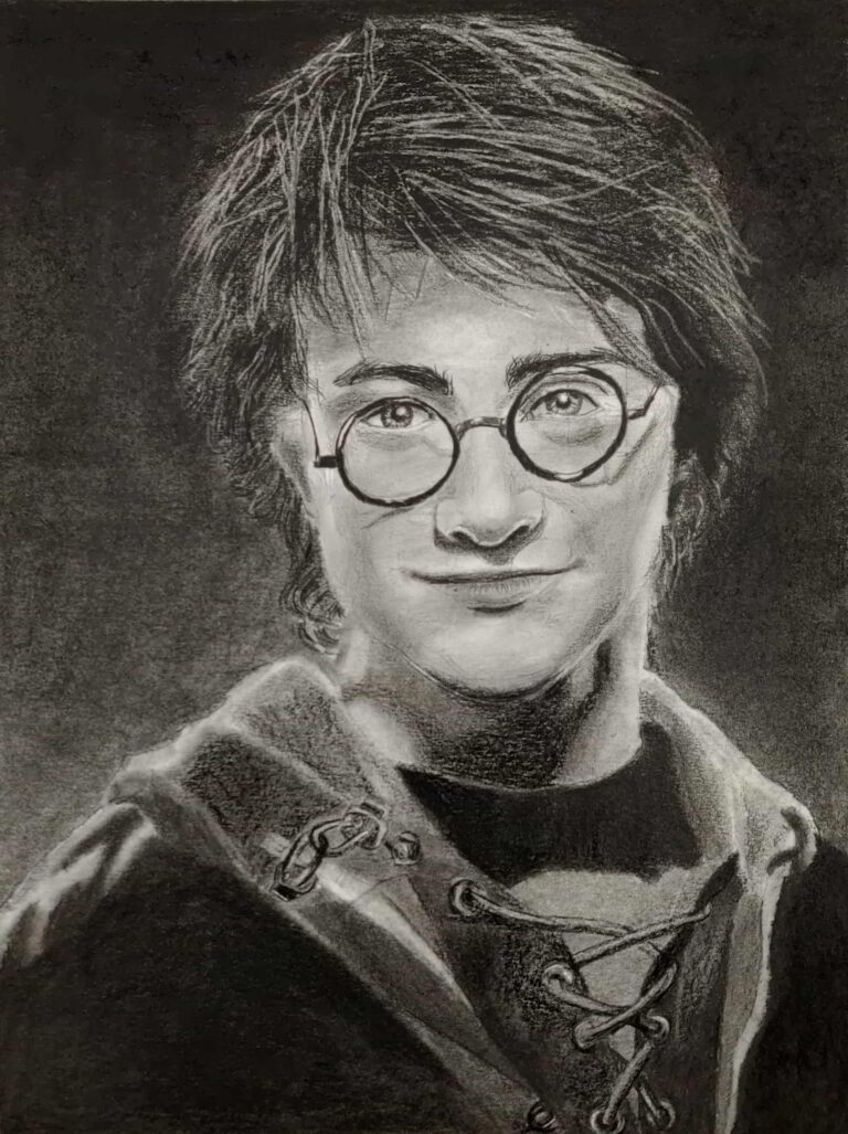 HARRY POTTER Graphite and Charcoal Pencil Portrait 7 years old Student Shanky Studio