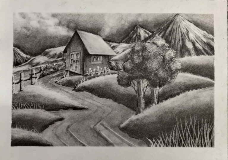 Graphite Pencil Scenery by 7 years old student Shanky Studio imagination without reference picture