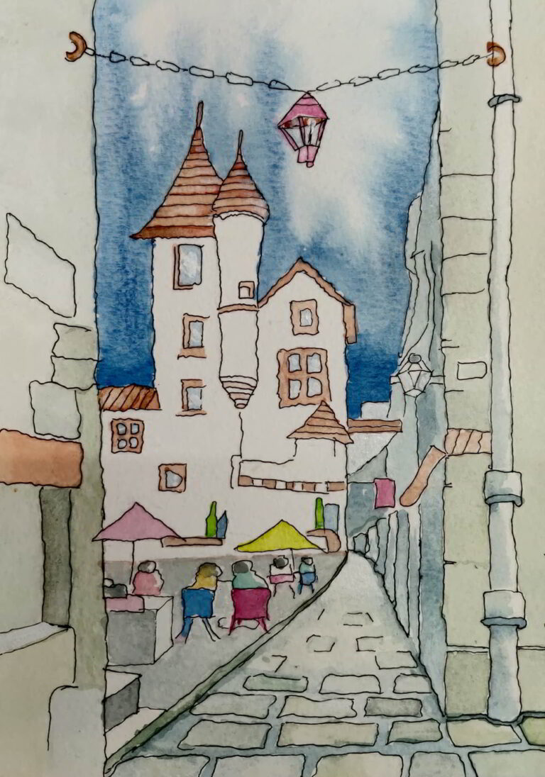 Ink Wash Watercolor 7 years old Shanky Studio
