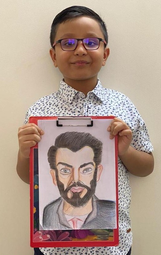 Colored Pencil Portrait by 5 years old student online visual art class