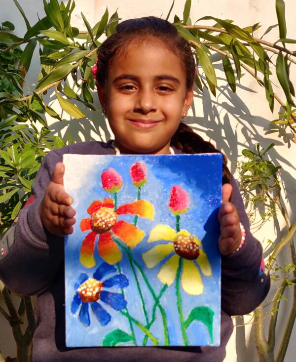 5 years old first acrylic painting on canvas shanky studio free visual art class
