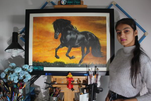 Colored Pencil and Soft Pastels Horse Sunset Free Art Class Shanky Studio