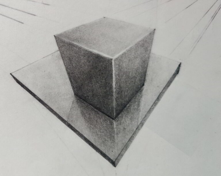 Shanky Studio Surinder Shanker Anand Graphite and Charcoal 3 point perspective cube