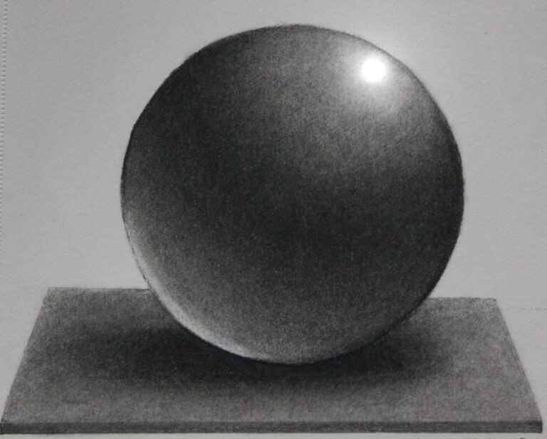 Shanky Studio Surinder Shanker Anand Graphite and Charcoal Sphere Basic Form