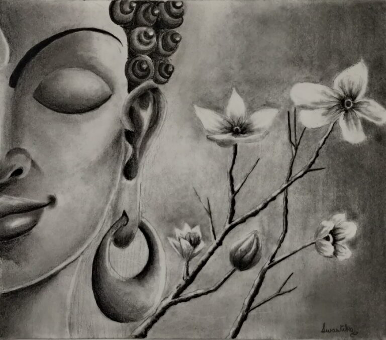 Shanky Studio Meditating Budhha Charcoal and Graphite Pencil from Imagination without reference picture